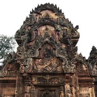 The detailed carvings on Banteay Srei